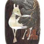 A wood inlaid inro with deer