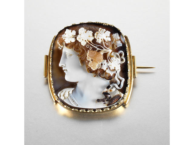 A late 18th/early 19th century onyx cameo brooch, by Morelli