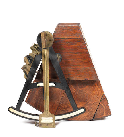 A 19th Century 11in.(28cm)radius ebony octant,  by Crighton, London.