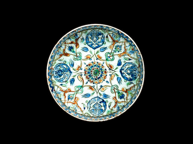 An Iznik rimless pottery Dish Turkey, 17th Century