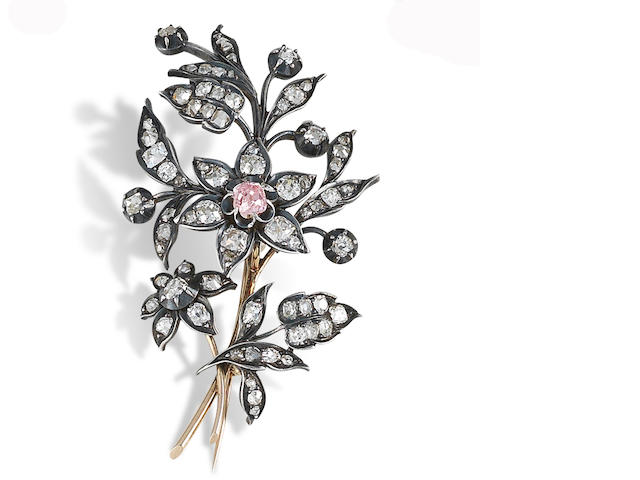 A mid 19th century diamond spray brooch