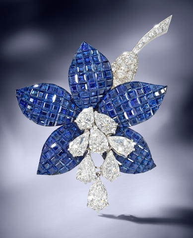 A sapphire and diamond 'Fuschia' brooch, by Van Cleef & Arpels,