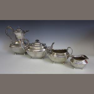 A Victorian silver four piece tea service, by James Dixon and Son,  Sheffield 1897/99,  (4)