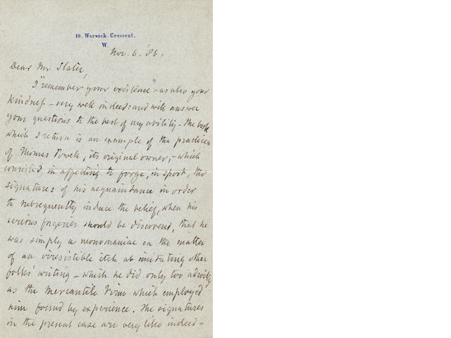 "BROWNING (ROBERT) Autograph letter signed (""Robert Browning""), to Walter B. Slater, 1866"