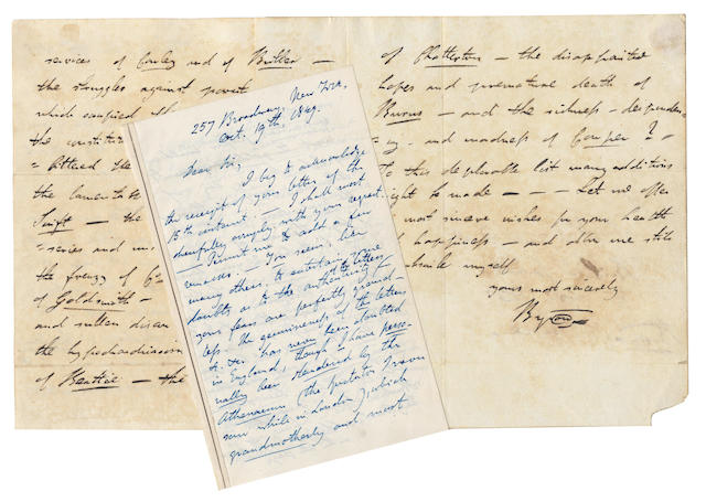 BYRON (MAJOR GEORGE GORDON DE LUNA) Collection comprising an autograph letter signed by the forger 'Major Byron', together with three examples of his Byron forgeries