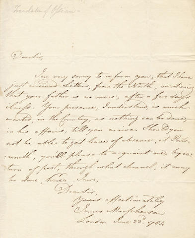 "MACPHERSON (JAMES) Autograph letter signed (""James Macpherson""), to ""Dear Sir"", 1784"