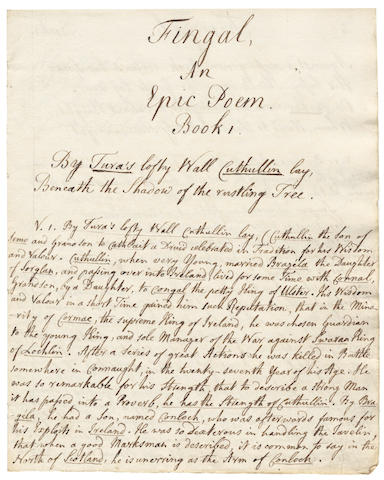 MACPHERSON – EWEN CAMERON'S FINGAL. Autograph manuscript of Ewen Cameron's verse rendition of The Fingal of Ossian, [c.1776]