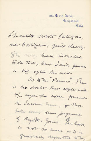 WISE (THOMAS JAMES) Series of some thirty autograph letters signed (two entirely in the hand of his wife Louie), to C.W. Hatfield, 1917-1929