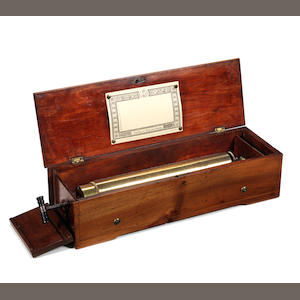 An early key-wind two-per-turn musical box, by Métert, circa 1844,