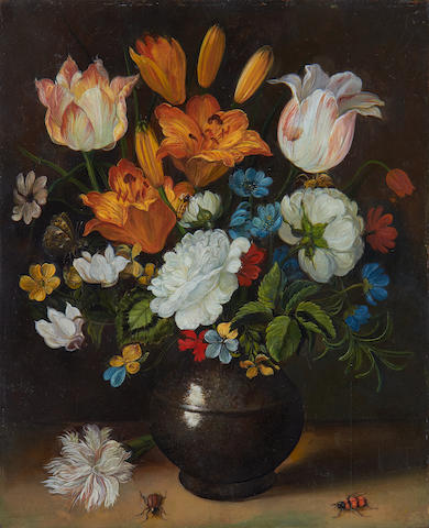 Manner of Jan Brueghel the Younger, 20th Century Tulips, roses, carnations and other flowers in a vase, resting on a table with insects