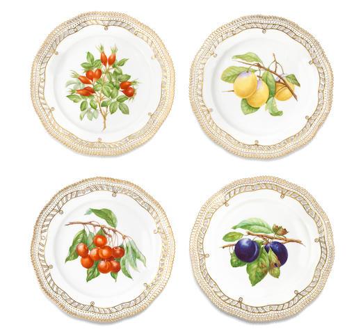 Four Flora Danica plates, circa 1960