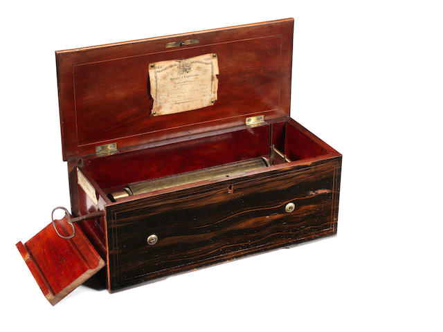 A rare key-wind hidden drum and 'bells-piano-forte' musical box playing four airs, by David Lecoultre, circa 1845,