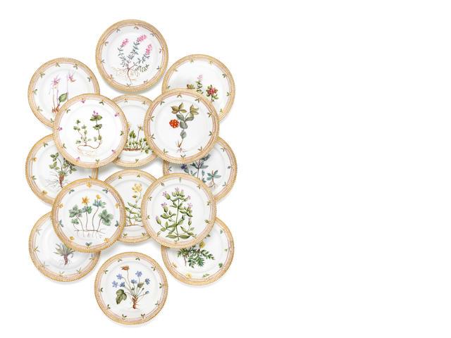 Fourteen Royal Copenhagen Flora Danica desert plates