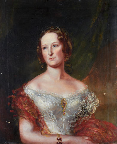 English School, 19th Century Portrait of a lady, half-length, in a white embroidered dress and a pink shawl
