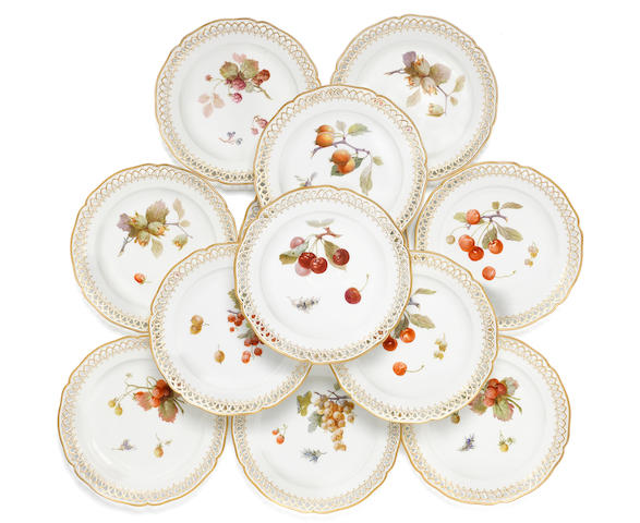 Twelve Berlin desert plates, early 20th century