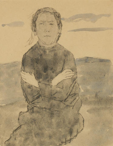 Gwen John (British, 1876-1939) Marie Hamonet with Arms Crossed 32 x 24.8 cm. (12 1/2 x 9 3/4 in.)
