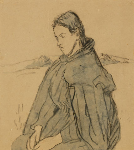 Gwen John (British, 1876-1939) Louis Gautier Wearing a Cape 31 x 27.3 cm. (12 1/4 x 10 3/4 in.)