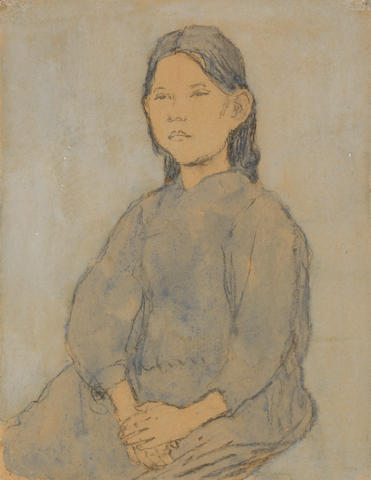 Gwen John (British, 1876-1939) Marie Hamonet with hands in lap 32.3 x 25 cm. (12 3/4 x 9 3/4 in.)