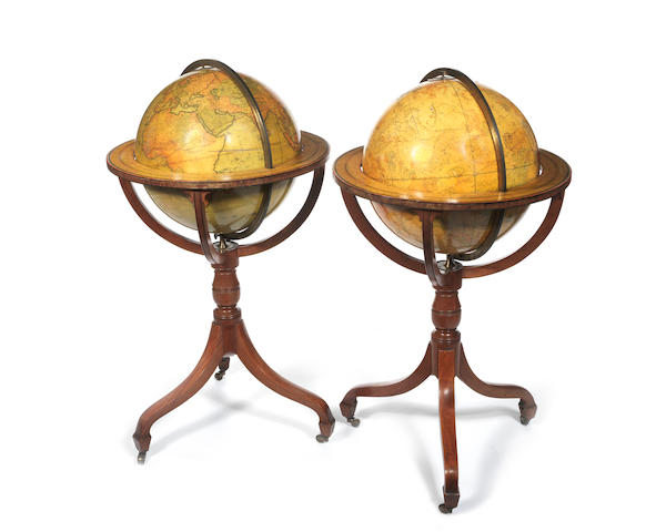 A fine pair of J & W Cary 18-inch terrestrial and celestial globes,  English,  circa 1835,  (2)