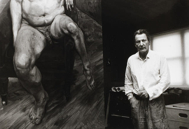 Bruce Bernard (British, 1928-2000) Lucian Freud with portrait of Leigh Bowery, 1990