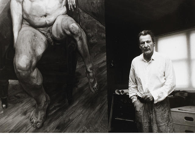 Bruce Bernard (British, 1928-2000) Lucien Freud with portrait of Lee Bowery, 1990 Paper 43.5 x 59.7cm (17 1/8 x 23 1/2in), image 33.5 x 49.3cm (13 3/16 x 19 7/16in).
