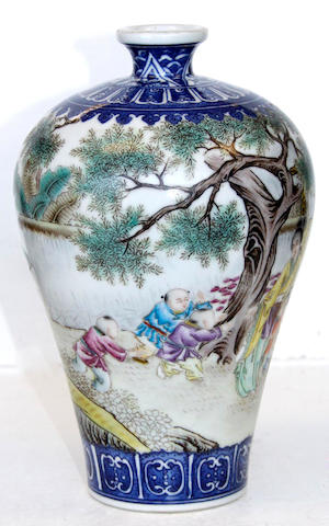 A famille rose meiping vase Qianlong mark
