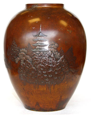 A Japanese bronze oviform vase, Meiji period or later