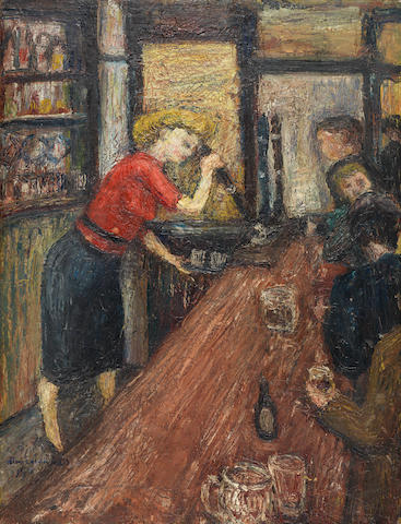 Alan Lowndes (British, 1921-1978) The Barmaid 62.8 x 48 cm. (24 3/4 x 18 7/8 in.)