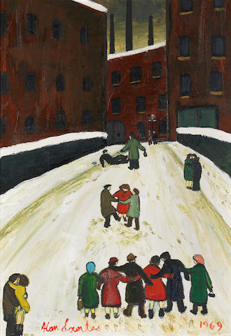 Alan Lowndes (British, 1921-1978) Going Home, Christmas Eve 76 x 50.5 cm. (30 x 19 3/4 in.)