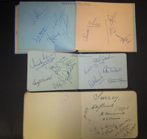 1920's to 1960's Cricket autograph books of County teams