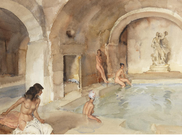 Sir William Russell Flint R.A., P.R.W.S. (British, 1880-1969) Diana's secret vault, Languedoc 49 x 66.5 cm. (19 1/4 x 26 1/4 in.)