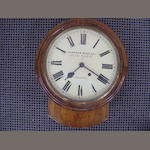 A 19th Century walnut drop-dial wall clock,by Camerer Cuss & Co, 451 New Oxford Street, London, 39cm high