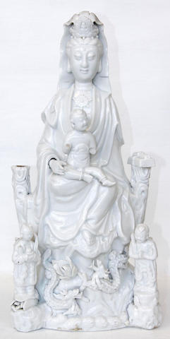 A Chinese blanc-de-chine figure of Guanyin, 19th century