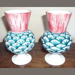 A pair of Wemyss ware thistle-shaped small vases
