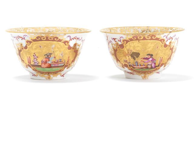 Two rare Meissen teabowls, circa 1723-25
