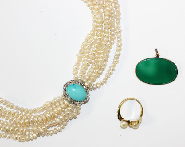 A freshwater pearl, turquoise and diamond necklace,