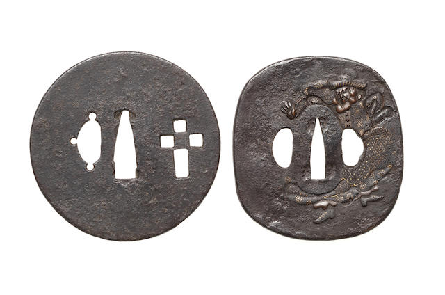 Three rare tsuba, six kozuka, two fuchi-gashira, two menuki, a kanamono and a pendant with Nanban designs 18th to 19th century
