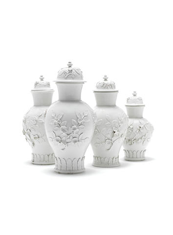 An extremely rare graduated set of four Meissen Böttger porcelain vases and four covers, circa 1715