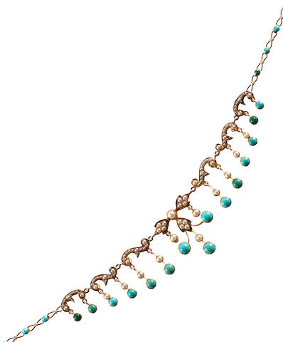 A late Victorian gold turquoise and seed pearl fringe necklace