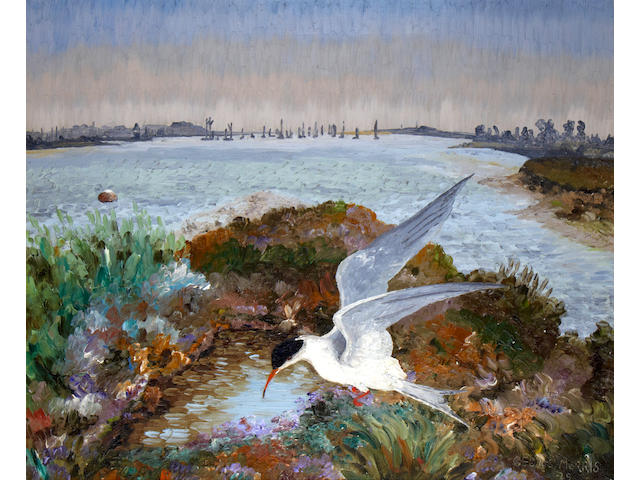 Sir Cedric Lockwood Morris (British, 1889-1982) Estuary with Tern