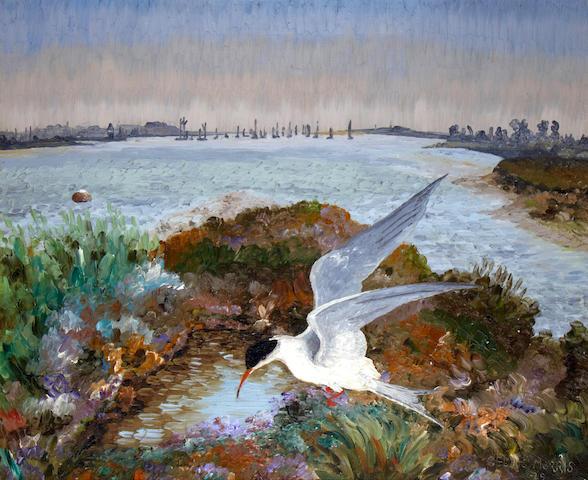Sir Cedric Lockwood Morris (British, 1889-1982) Estuary with Tern