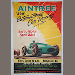An Aintree '200' International Car Racing poster for 1961, after Roy Nockolds,
