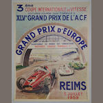 A 1959 Grand Prix d'Europe at Reims poster,