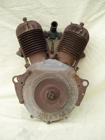 A circa 1907 Minerva V-Twin motorcycle engine,
