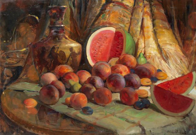 Alexei Vladimirovich Isupov (Issupoff, Alessio) (Russian, 1889-1957) Still life with fruit and a vase