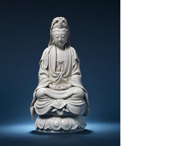 A magnificent blanc-de-Chine figure of Guanyin Impressed He Chaozong mark, circa 1640