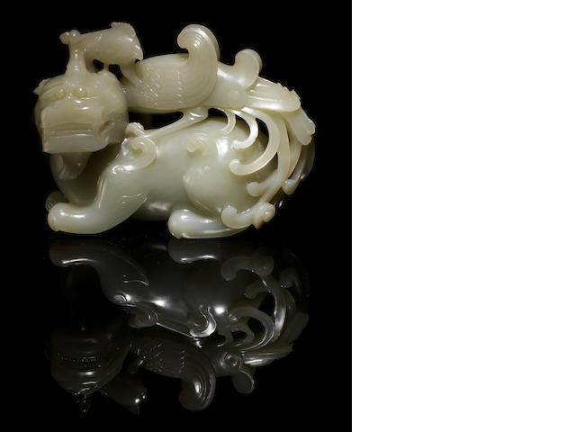 A white jade Yingxiong group