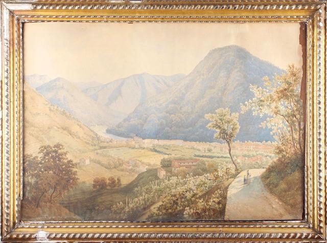 Francesco Bensa (Italian, born circa 1830-) An Italian valley landscape