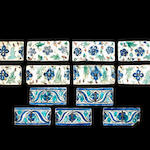 Eight Kubachi tiles and 5 Qajar tiles