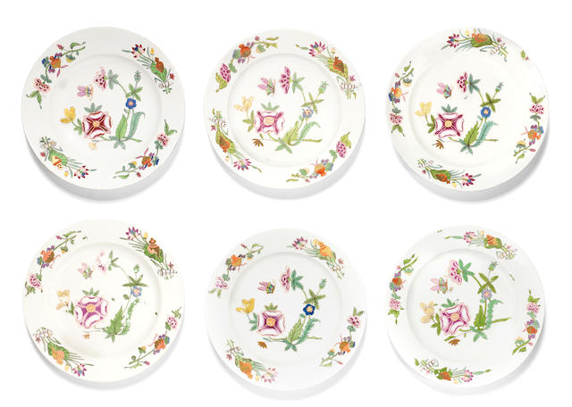 A set of six Vienna plates, circa 1750